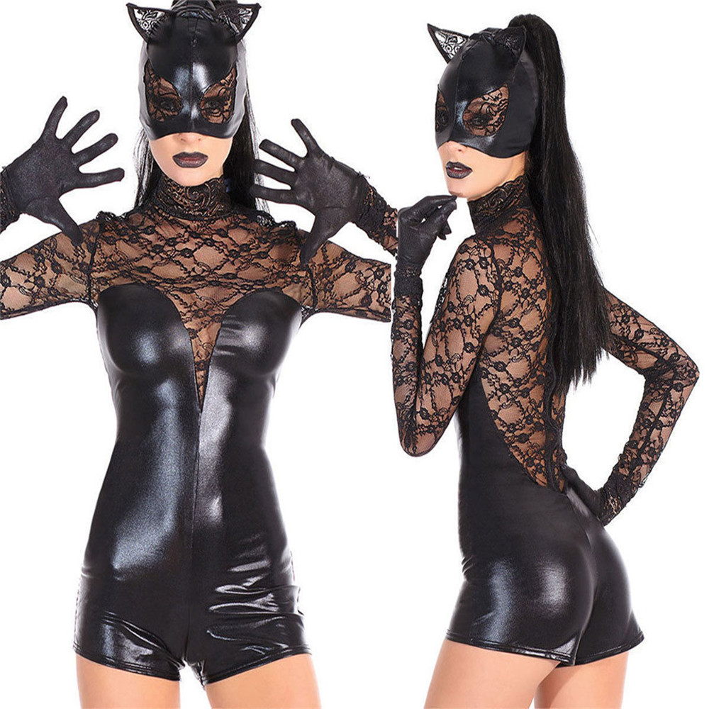Women Black Faux Leather Catsuit <font><b>Sexy</b></font> <font><b>Catwoman</b></font> <font><b>Costume</b></font> Cat Cosplay Jumpsuit Stretchable 2 Way Zipper Bodysuit With Mask image