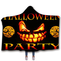 Halloween 3D Pattern Hooded Blanket Sherpa Wool Blanket Can Wear Plush Plush Bedding Sofa Thick Warm 150 * 200cm / 150 * 130cm