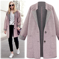 Women's Overcoat Outwear Winter Wool Coat Trench top clothes Loose Plus autumn high quality woolen large size woolen clothes F80