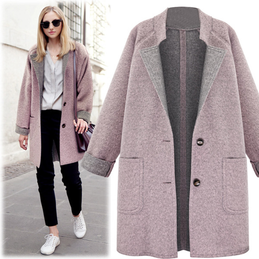 Women's Overcoat Outwear Winter Wool Coat Trench top clothes Loose Plus autumn h