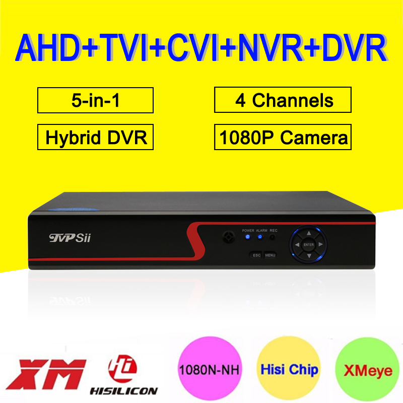 Red Panel 1080P Surveillance Camera XMeye APP 4CH 4 Channel 25fps 5 in 1 Coaxial Hybrid NVR CVI TVI AHD CCTV DVR Free Shipping
