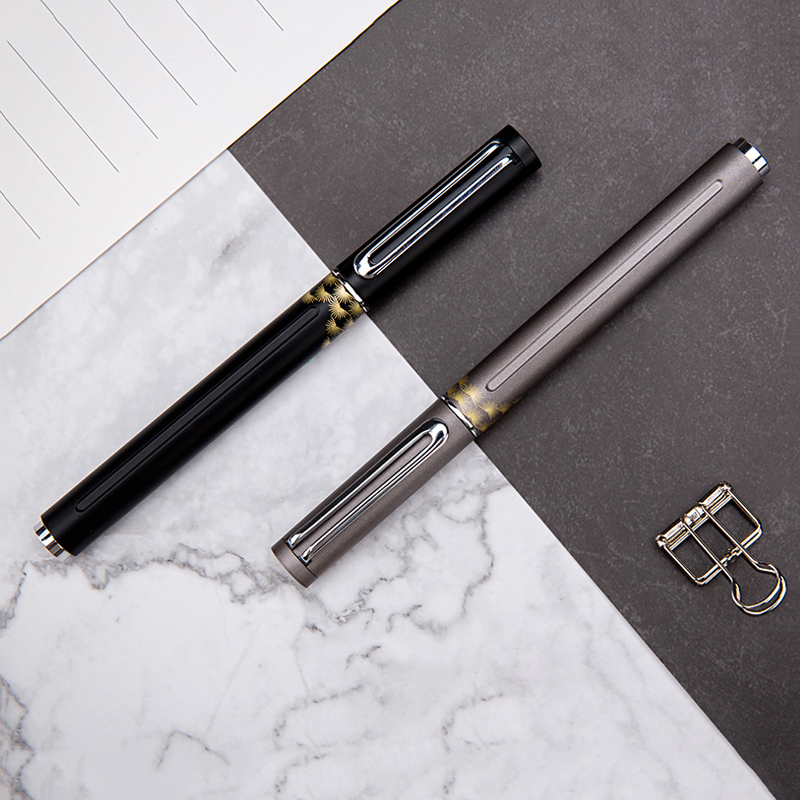 Black Grey Fountain Pen Fine Nib 0.5mm Ink Pens for Writing Luxury Business Gift School Office Supplies Stationery with Gift Box black golden clip full metal fountain pen wingsung 572 hooded nib luxury student writing business gift pens with box stationery