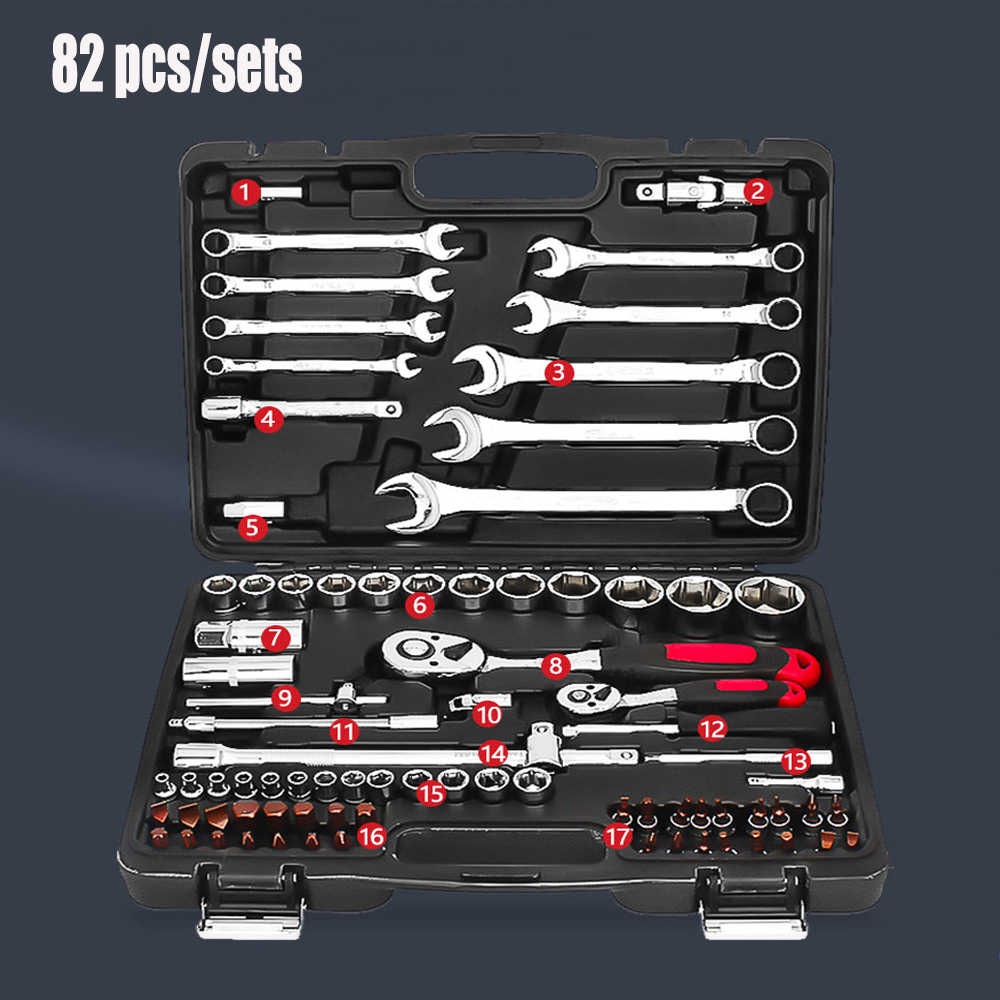 82pcs Cheap Price CR-V Socket Set, Professional Automotive Repair Tools for car, Multi Hand Tools mainpoint 1 4 1 2 3 8 e socket sockets set cr v torx star bit combination drive socket nuts set for auto car repair hand tool
