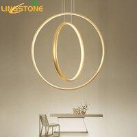 Led Gold Chandelier Lighting Lustre Ring Hanging Lamp Modern Chandeliers Ceiling Restaurant Bar Cafe Indoor Decoration Fixture