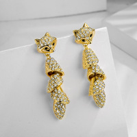 2019 New earrings Europe Crystal from Swarovski Creative inlaid zircon gold fox tassel earrings Fit Women and female