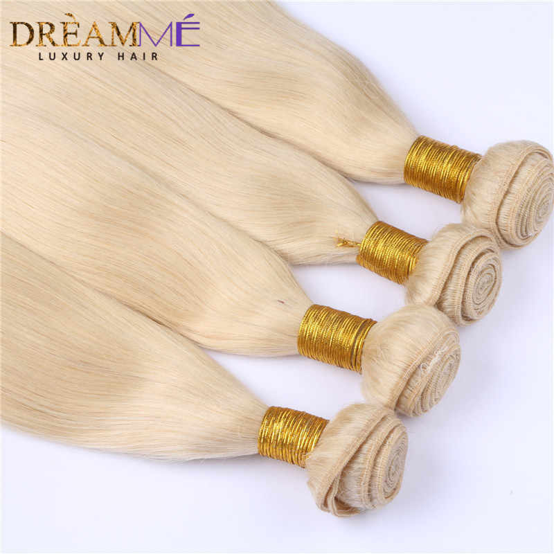 Бразильский прямо натуральные волосы 3 Связки с 13x4 кружева фронтальной не Волосы remy #613 блондинка расширения Мечтая queen hair