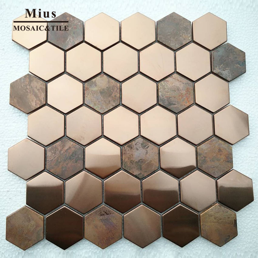 Hot Sale Hexagenal Rose Gold Metal Brown Copper Mosaic Wall Tile Bathroom Tile Mosaic