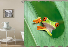Kiwiberry Longer Cute Frogs Bathtub bathroom Shower Curtain Fabric Liner with 12 Hooks 72Wx80H inch Waterproof and Mildewproof