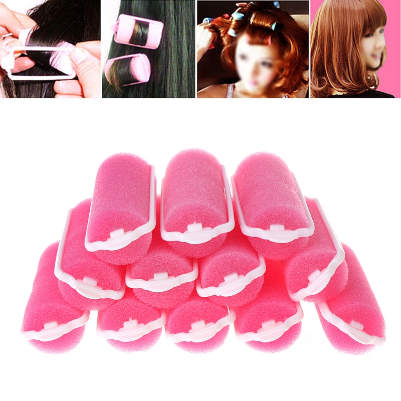 12pcs/set Soft Magic Sponge Foam Cushion Hair Rollers Styling Pink Curlers Hairstyle Design Salon or Home Use Hairdressing Tool