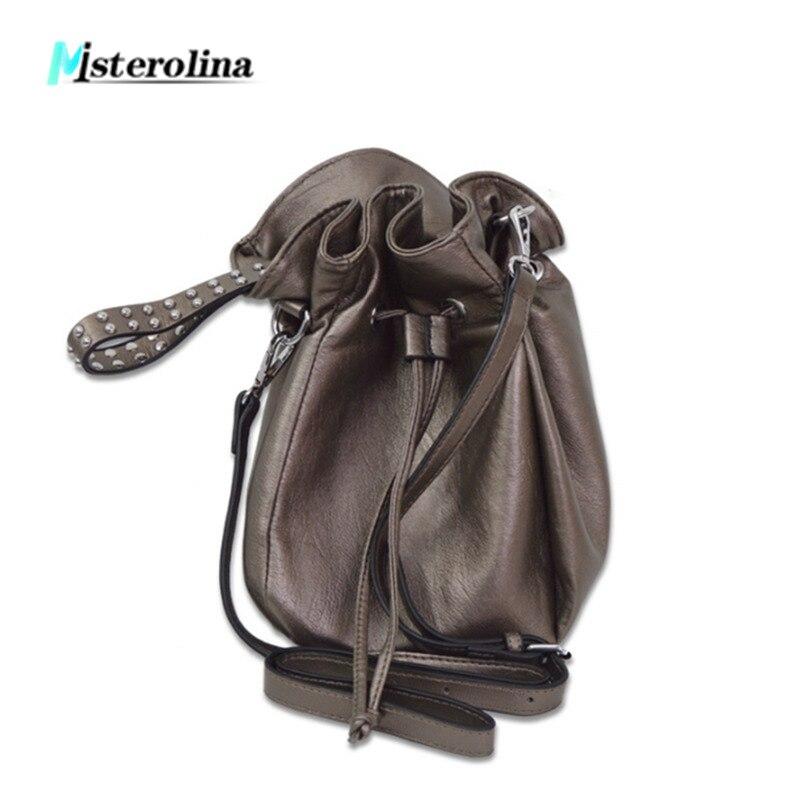 Misterolina PU Leather women bag Fashion casual rivet design messenger shoulder bag string crossbody bag travel shopping handbag