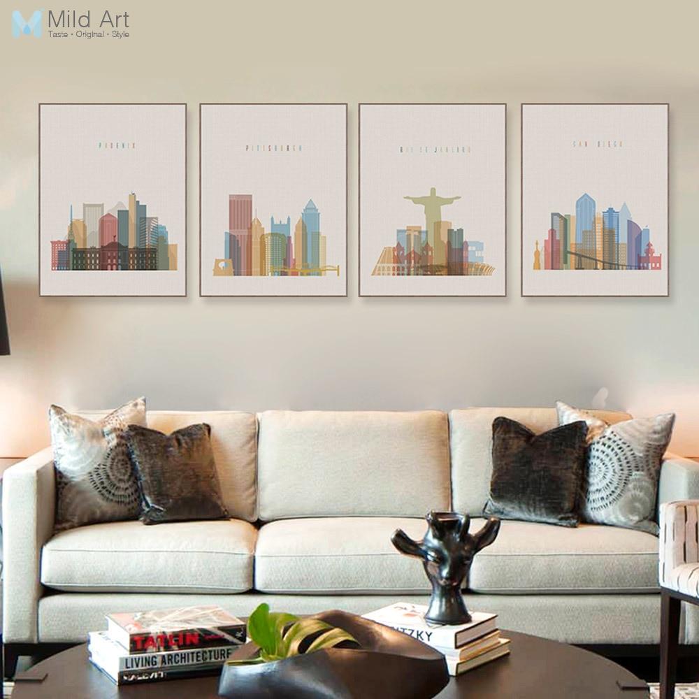N Rdico Abstrato Da Cidade Paris Nova Iorque Canvas Art Print  -> Quadro De Parede Para Sala Abstrato