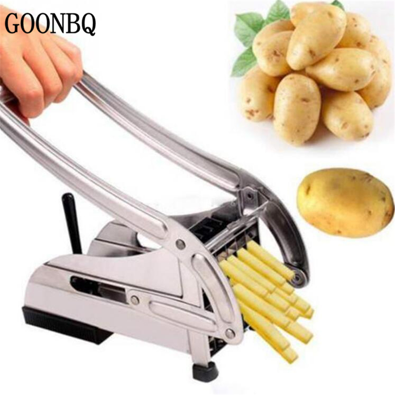 GOONBQ 1 pc Potato Cutter Machine Stainless Steel Kitchen French Fry Cutters Cucumber Slicer Cutting Tool Potato Chip SlicerGOONBQ 1 pc Potato Cutter Machine Stainless Steel Kitchen French Fry Cutters Cucumber Slicer Cutting Tool Potato Chip Slicer
