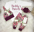 CANIS Brand 3PCS Newborn Baby Girls Flower Letter Printed Romper + Flower Pants + Cute Leggings Hat Outfits Clothes Set Autumn
