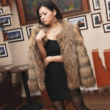EMS free ship female 2016 fashion luxury real raccoon fur coat thick warm winter jacket women natural brown outwear overcoats