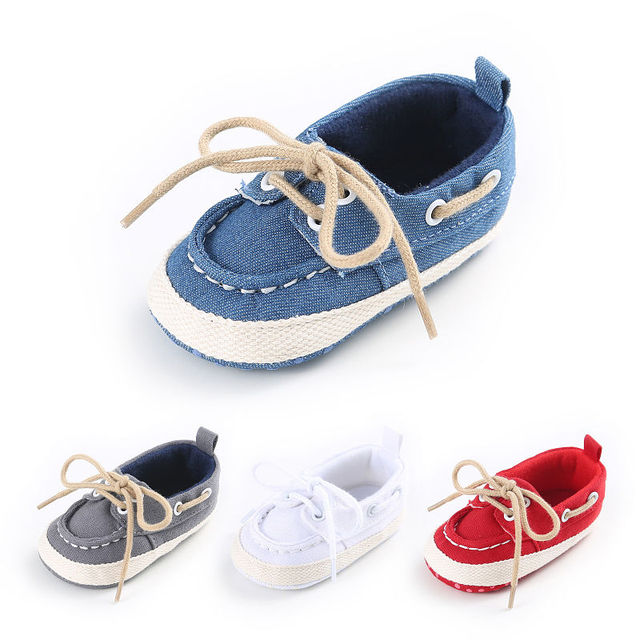 ae78f399264ea2 Cute Toddler Baby Girl Boys Canvas Shoes Lace Up Newborn Infant Anti-slip  Soft Sole Shoes Prewalker Summer Spring Blue White