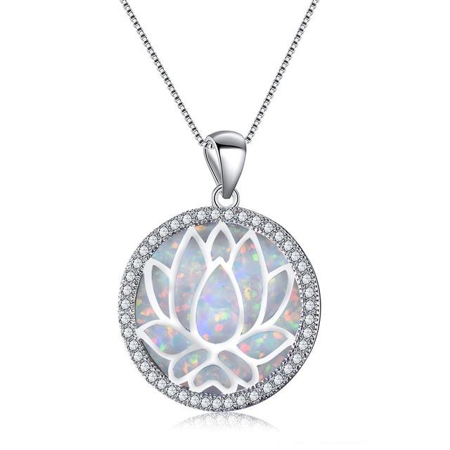 aad73e698f91 Collar de loto ahuecado plata 925 colgante ópalo fuego blanco azul para  mujer joyería moda