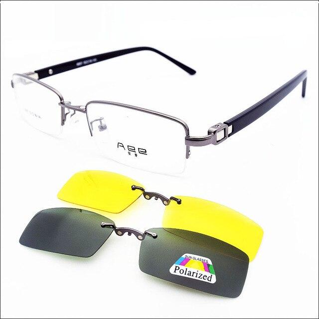 Половина рамка с магнитом клип оптический очки очки ночного видения поляризованных солнцезащитных очков Два Клипа Женщины Мужчины Очки Кадр один набор
