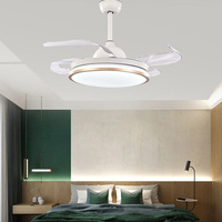 Invisible Ceiling Fan Lamp 42 Inch Green Nordic Invisible Restaurant Fan Chandelier Simple Home Bedroom Quiet Charged Fan