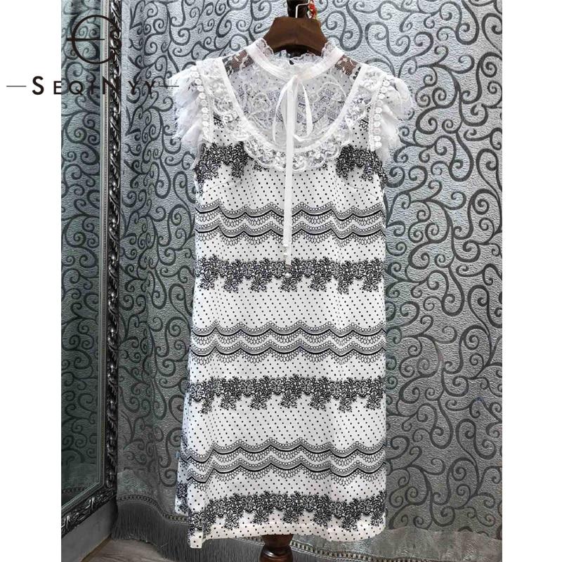 e59bccae8 SEQINYY البسيطة اللباس 2019 الصيف موضة جديدة تصميم تقسم مقوس دانتيل النساء  ضئيلة الحلو أسود/