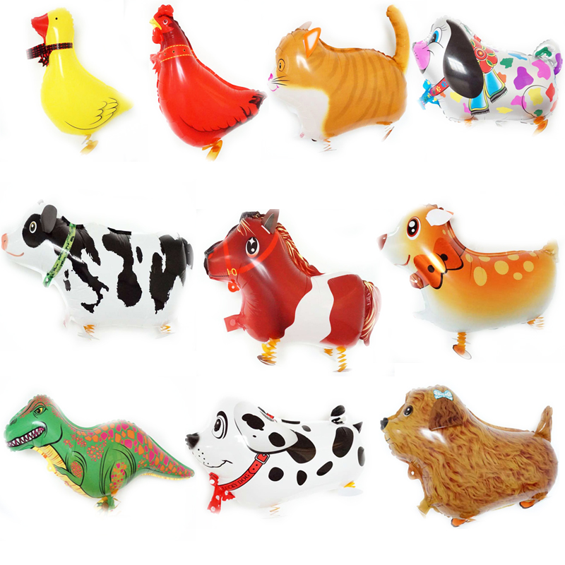 10pcs walking balloons foil material animal pet balloon cow cat duck dog horse d
