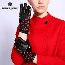 Yeni moda deri eldiven kadın hakiki deri popüler kalp desen deri eldiven kış saray eldiven