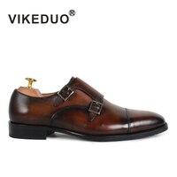 Vikeduo 2018 Handgemachte Retro Hot Echtes Leder Fashion Hochzeit Schuhe Luxus Echte Original Design Flache Männer Mönch Kleid Schuh