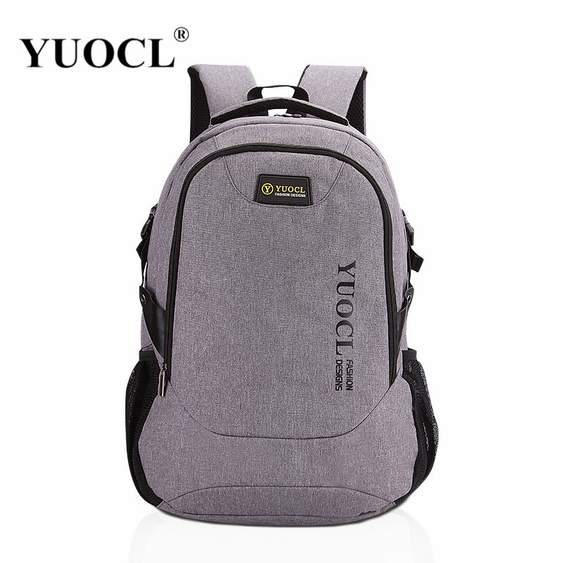 YUOCL New 2018 Men Male Canvas College Student School Backpack Casual Rucksacks Laptop Travel Bag Backpacks Women Mochila Gray 2017 new masked rider laptop backpack bags cosplay animg kamen rider shoulders school student bag travel men and women backpacks