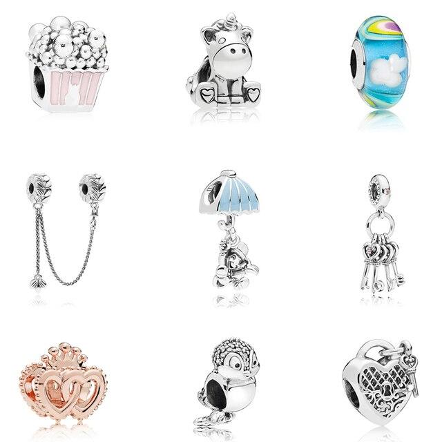 2018 новый оригинальный посеребренный Шарм Fit Pandora Браслеты Diy Ключи любви чай горшок Висячие подвески-талисманы для женщин Diy Jeweley