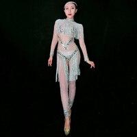 Джаз танцевальные костюмы для леди со стразами Для женщин бар Dj танцоров сценический для певца боди Бейонсе Одежда для танцев наряды