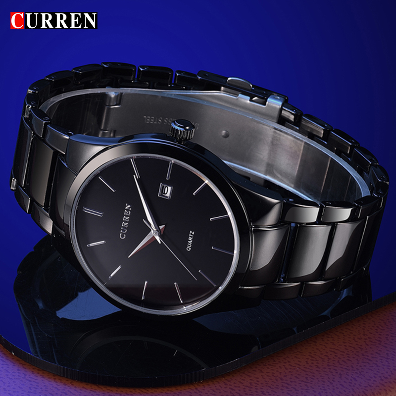Curren 8106 Mens Luxury Black Stainless Steel Analog Quartz Watch Men New Fashion Sport Wristwatch Male Clock Relogio Masculino