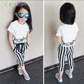 Las Chicas de moda Trajes de Estilo Coreano de La Gasa t-shirt + Pant 2 Unids/set Niños Chándal Niños Loose Harem Pant Adolescente chica Ropa A027