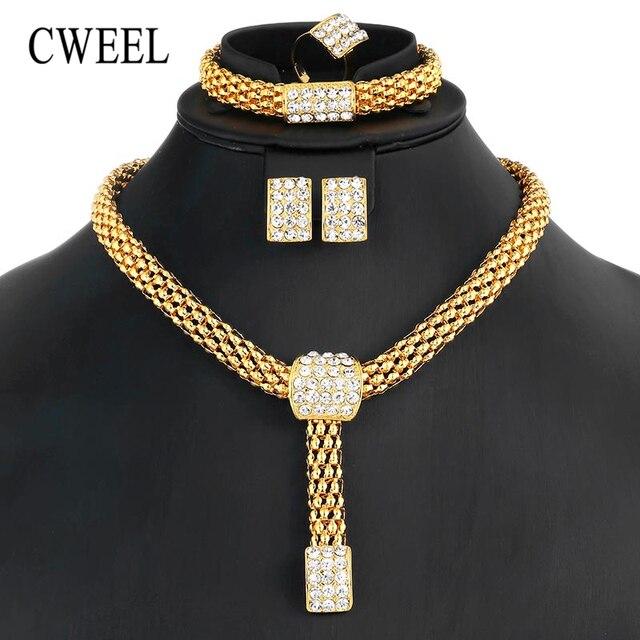 CWEEL תכשיטי סטי דובאי הודי אפריקאי חרוזים תכשיטי סט לנשים כלה חתונה זהב צבע תכשיטי סטי תלבושות תכשיטי סט