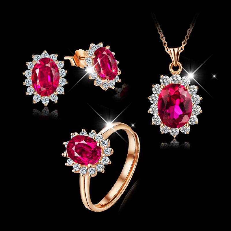 Earrings Corundum Necklace Jewelry Stones Gift Girlfriend Natural High-Quality Famous-Brand