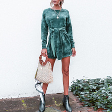 LOSSKY Fashion Clothes Vestidos Women Dress 2018 Autumn Winter Velvet Dress Female O Neck Long Sleeve Lace Up A Line Mini Dress