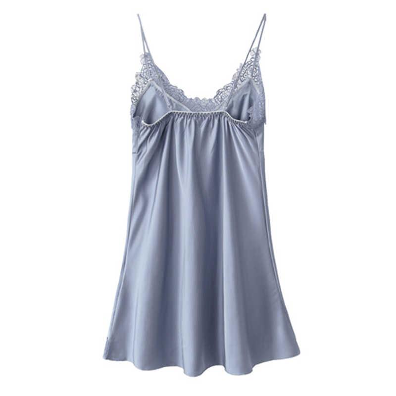תחרה כותונת לנשים סקסי הלבשת כתונת משי מרופד שרוולים קיץ ספגטי רצועת לילה שמלת גבירותיי Nightwear # D