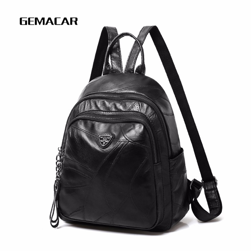 Women Leather Backpack Fashion Trend Casual Female Backpack Large Capacity Work Out Backpack Stitching Sheepskin Black Girl Bag