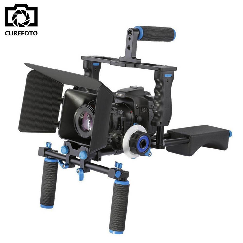 Prix pour DSLR Rig Vidéo Stabilisateur D'épaule Mont Rig + Matte Box + Follow Focus + Dslr Cage pour Canon Nikon Sony DSLR Camera Vidéo Caméscope