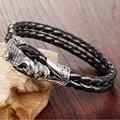 Men Vintage Jewelry Black Leather Rope Bracelet Stainless Steel Bangle Snake Design Rock Punk Man Accessories Male Gift LPH1019