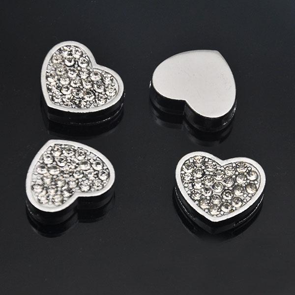 CCOR 5pcs DIY accessory Clear Rhinestone 10mm Inner Dia. Heart Slide Charms  Beads DIY 10MM Dog Cat Collar Wristband CD0171 9e928fc0f157