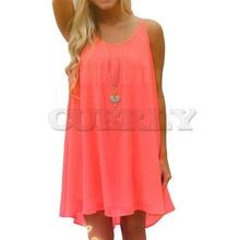 купить Cuerly Beach Dress Fluorescence Women Summer Dress Chiffon Women 2019 Summer Style Women Solid Pink Dress  plus size women L4 недорого