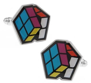 486459768e2 Novo Design! Preço de fábrica de Varejo dos homens Abotoaduras Abotoaduras  de Cobre Material de rubik Cube Design Esmalte Abotoaduras Frete Grátis