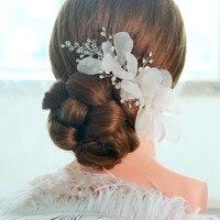 1pc Lot Handmade White Voile Silk Floral Flower Bridal Hair Clip Pins Barrette Bride Classic Hairband