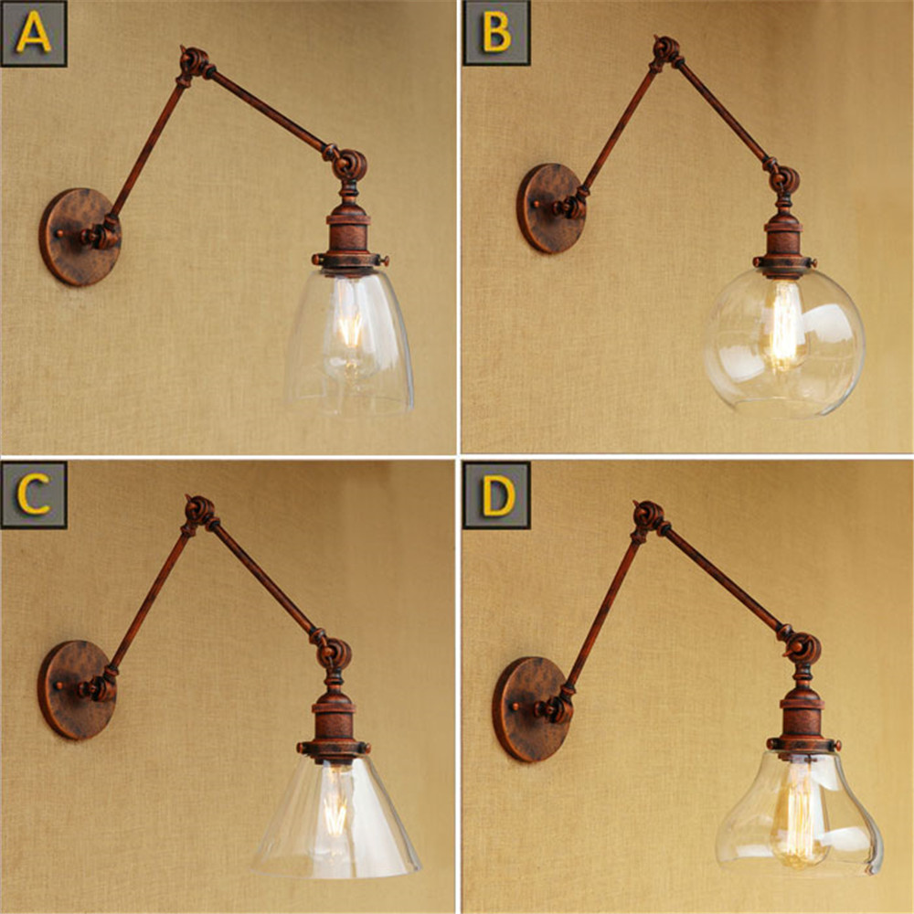 Clear Glass lampshade  wall lights Retro Rustic Double swing arms wall lamp Vintage antique Edison wall sconces lampara pared