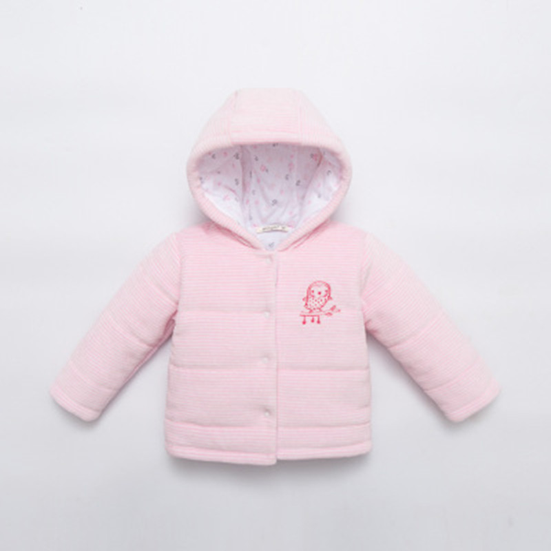 0-3 Years Old Baby Coats Thicker Jacket For Girls Winter Warm Hooded Outwear Pure Color Kid Clothing Pink Yellow Blue Wholesale
