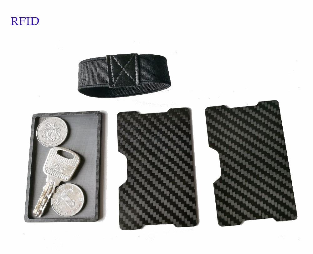 T 10 Carbon Fiber RFID Blocking Money Band Credit Card Holder Slim Wallet with key coin