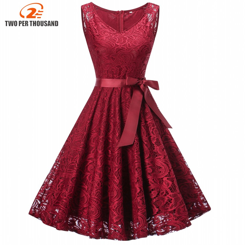 2018 Vintage Floral Lace Pleated Dress Women Sleeveless V-Neck Elegant Party Sexy Dresses Retro 50s Summer Robe Big Swing Dress