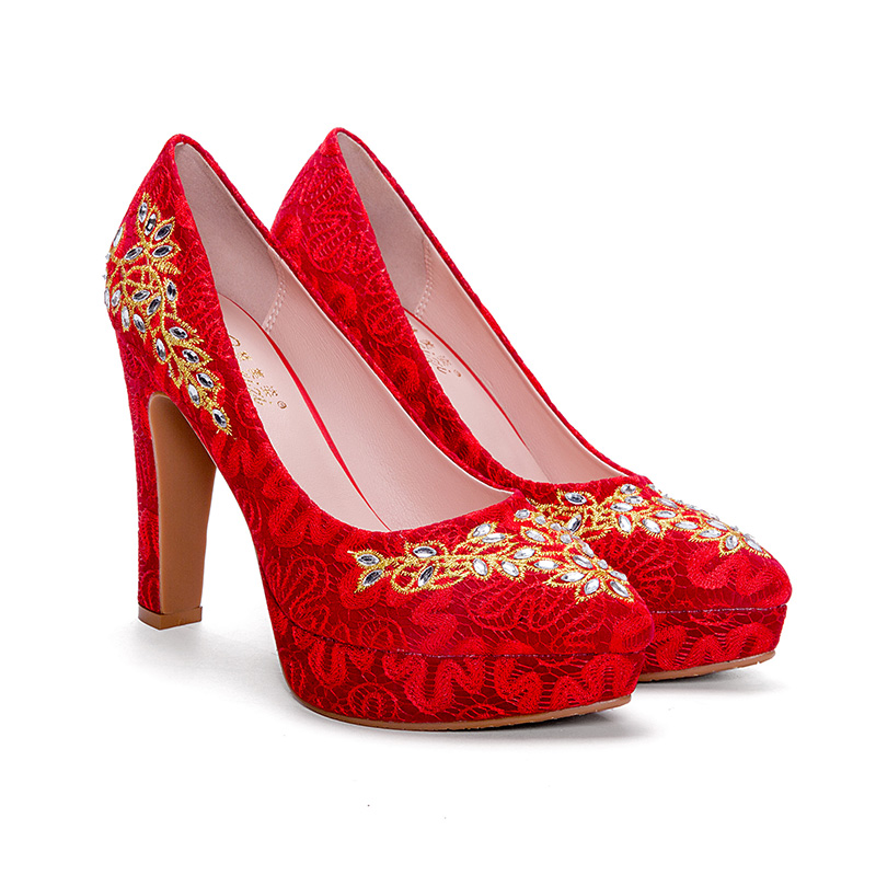 Wedding women's shoes waterproof table thick red wedding shoes bride national style Chinese style shoes embroidery high heels style national каталог