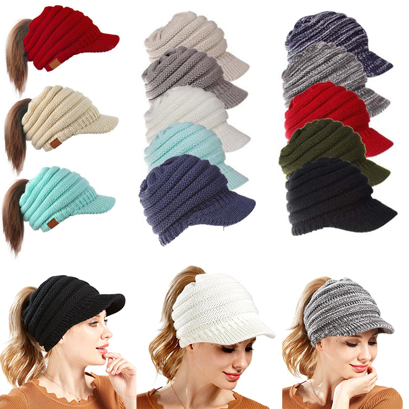 Girls Womens Stretch Knit Hat Messy Bun Ponytail Beanie Holey Winter Warm Hats