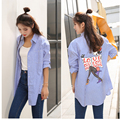 S-5XL 2016 Autumn New Vintage Loose One Pocket Stripe Printed Long Sleeve Women Blouse Shirt Tops Blusas Plus Size