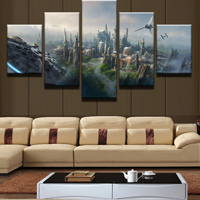 b593a83bf0c 5 Panel Star Wars Scenery Millennium Falcon Painting Canvas Wall Art  Picture Home Decor Living Room Canvas Print Modern Painting